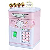 Electronic piggy bank for girls boys.Cute kids bank with fingerprintcan auto rolling cash coins,Digital kids safe with children's music,helpful for kids cultivating financial awareness(Pink-cat)