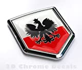 Car Chrome Decals Poland Polski Polish Flag Emblem Black Eagle