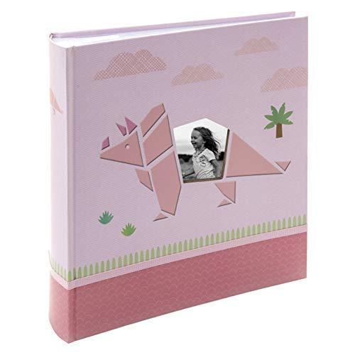 Kusso Álbum de Fotos Dinosaurio Rosa Personalizable para Niños - Regalos Originales – Álbum de Fotos 10x15 cm con Capacidad para 200 Fotos