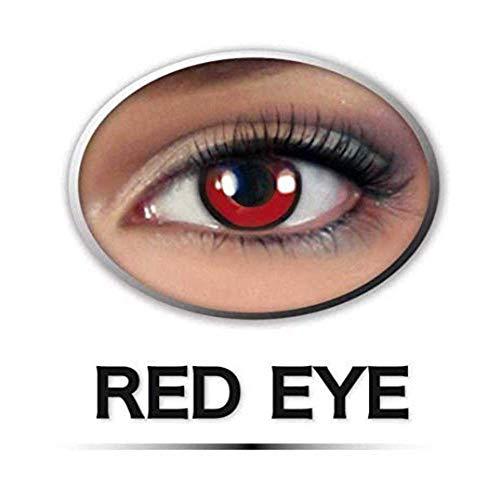 KarnevalsTeufel Fun-Linse Red Eye Einzellinse Rot Kontaktlinse