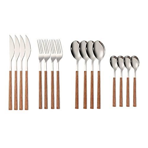 16pcs de acero inoxidable imitación manija de madera cubiertos de cuttery pinza de vajilla occidental vajilla cuchillo tenedor té té cuchara cubiertos (Color : Silver)