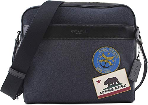 Coach Men's Charles Messenger One Size Bag With Naval Patches In QB Navy Multi, Style F31344