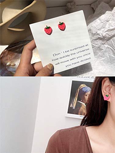 Chwewxi Japanische koreanische Temperamentohrringe weibliche Farbe Karikatur m Schokoladenbohnen kleine Gänseblümchenblumenoberteilplätzchen kleine Ohrringe, helles gelbes E48 Erdbeerohrringpaar