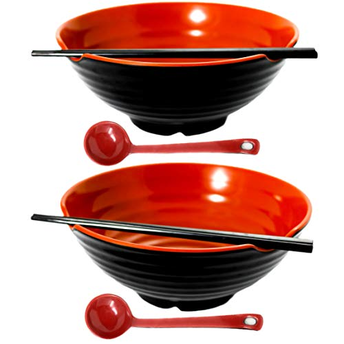 2 XL bowl set, 6 Pieces Ramen Bowl Set, Asian Japanese soup with Spoons and Chopsticks. Restaurant Quality Melamine, Large 52 oz for Noodles, Pho, Udon, Thai, Chinese dinnerware, 9 inch