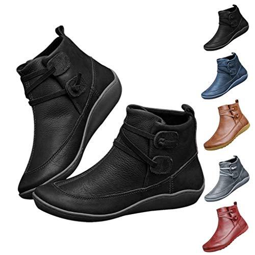 ZEELIY Damen Stiefeletten Schlupfstiefel Frauen Vintage Lederstiefel Flache wasserdichte Schuhe Winter Round Toe Ankle Boots Y901