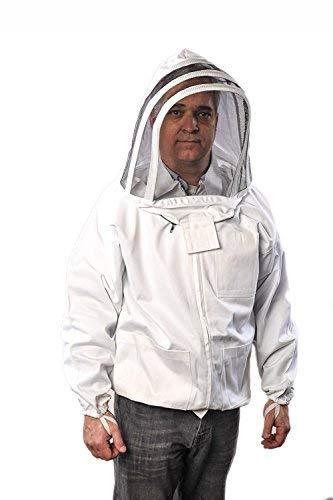 Forest Beekeeping Premium Cotton Jacket with Fencing Veil Hood, Professional Premium Beekeeper Jackets (Medium)