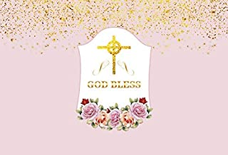 7x5ft Gold Holy Cross God Bless Photography Backdrop Background Golden Confettis Pink Purple Floral Flowers Roses Jesus Religious Activities Backdrops Baptism Backdrop Photography Props