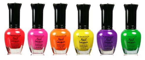 Kleancolor Nail Polish Lacquer -Neon Lot 6pc Full Size Set