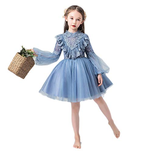 TONG Charmant Little Girl Style Catwalk Robe de soirée Enfants Princesse Robe Fluffy Fil d'anniversaire de Fille Piano Cadeau Costume Doux (Color : Blue, Size : 130cm)