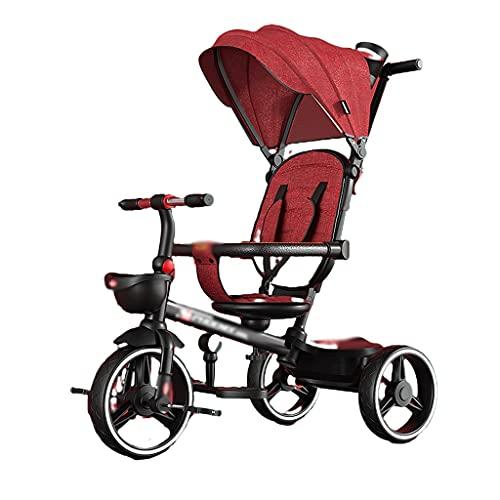 Carrito de bebé triciclo para niños, cochecito de bebé plegable, silla de paseo giratoria, cinturón de seguridad ampliado, estructura triangular, bicicleta antivuelco ligera y plegable (color: rojo)