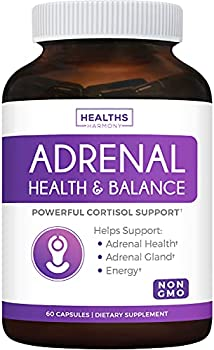 Adrenal Support & Cortisol Manager  Non-GMO  Powerful Adrenal Health with L-Tyrosine & Ashwagandha - Maintain Balanced Cortisol Levels & Stress Relief - Fatigue Supplement - 60 Capsules