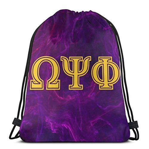 XCNGG Omega Psi Phi Drawstring Bag Unisex Fitness School Sport Bag Classic Printed Designed For Men Women