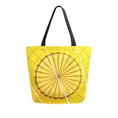JinDoDo - Bolsa de lona con fondo amarillo y líneas circulares reutilizables para mujer, para ir de compras, viajes, playa, escuela