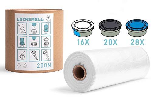 LOCKSMELL Nappy Bin Liner 200m Compatible con los cartuchos Tommee Tippee Sangenic Angelcare & Litter Locker II | Equivalente a 28 Angelcare 20 Litter Locker II 16 Recargas Sangenic + TUBO DE RECAMBIO