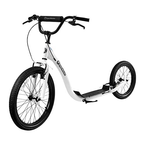 HyperMotion Kinderroller Scooter Tretroller Cityroller mit großen Rädern, Kinder Roller Kickboard Riva mit aufpumpbaren Rädern 50 cm und 40 cm, Kickscooter, Weiß