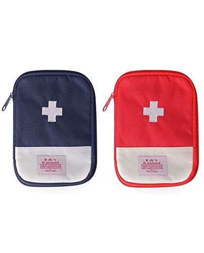 2 Packs First Aid Bag,Empty First Aid Pouch,Mini Portable Medical Bag for Outdoor Camping Hiking Travel Emergency,Multifunction Emergency Medicine Storage Bag-7x5 inch