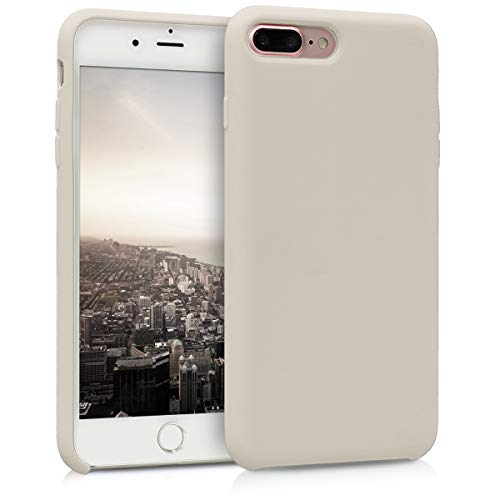 kwmobile Hülle kompatibel mit Apple iPhone 7 Plus / 8 Plus - Hülle Handyhülle gummiert - Handy Hülle in Creme