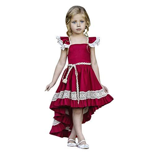 Weant Baby Kleidung Mädchen Outfits Spitze Schulterfrei Unregelmäßig Partykleid Sommerkleid Prinzessin Kleid Kinder Kleider Baby Bekleidungssets Neugeborenen Bekleidungset