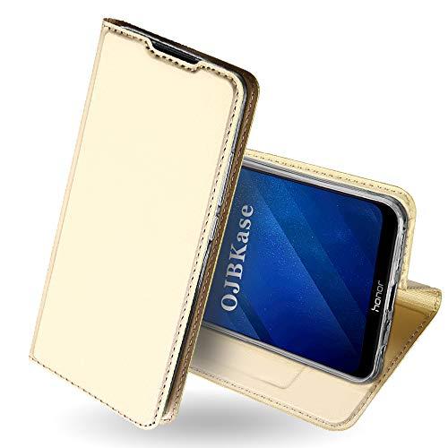 Preisvergleich Produktbild OJBKase Honor 8X Hülle,  Premium Slim PU Leder Handy Schutzhülle [Standfunktion] Hülle / Cover / Brieftasche / Ledertasche Bookstyle Tasche Lederhülle Handyhülle für Huawei Honor 8X (Gold)