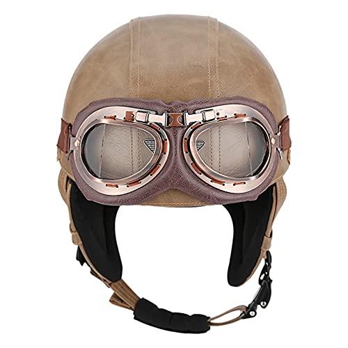 ZLYJ Retro Oldtimer Half Helmet Brain-Cap Casco de Cuero de Estilo alemán con Gafas de Aviador Casco Abierto de helicóptero de Crucero Certificado ECE C,L(57-58cm)