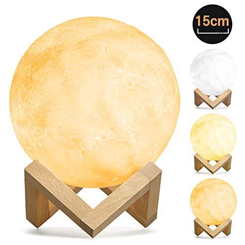 15cm LED Mond Lampe 3D Nachtlampe, Kohree Dimmbar Wiederaufladbar Warmweiß Kaltweiß Weichweiß mit USB,Halterung Dekoleuchte Mondlicht Tragbar Nachtlicht für Schlafzimmer,Kinder,Geburtstag,Weihnachten