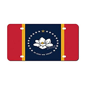 DKISEE Flag of Mississippi Auto License Plate Cover Aluminum Front License Plate Cover Novelty Auto Tag Car Accessories 6x12 Inch 0ytnfo0v9fsx