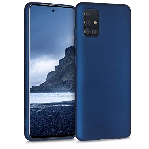 kwmobile Hülle kompatibel mit Samsung Galaxy A51 - Handy Case Metallic Blau