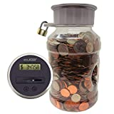 Locking Digital Coin Bank Savings Jar - Pennies Nickles Dimes Quarter Half Dollar Change Counter | Clear Jar with LCD Display
