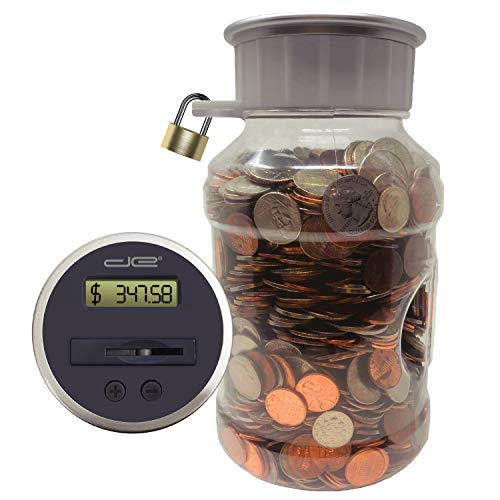 Locking Digital Coin Bank Savings Jar - Pennies Nickles Dimes Quarter Half Dollar Change Counter | Clear Jar with LCD Display
