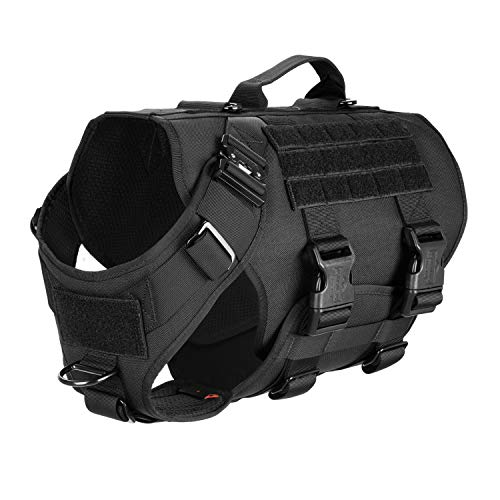 ICEFANG Tactical Dog Operation Harness with 6X Buckle,Dog Molle Vest with Handle,3/4 Body Coverage,Hook and Loop Panel for ID Patch,No Pulling Front Clip (XL (32'-39' Girth), Black)