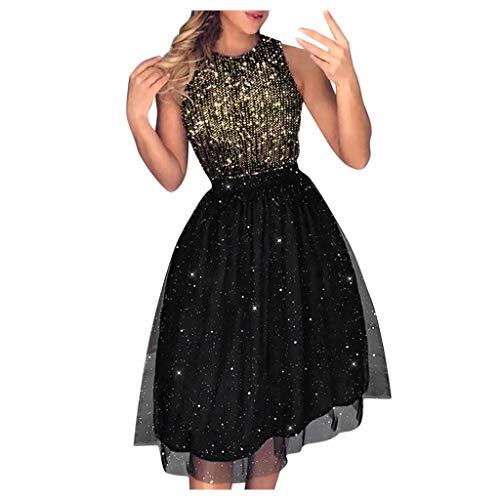 For Sale! Leadmall Women's Midi Cocktail Dress - Ladies Elegant Shiny Sequin Sleeveless Tulle Tutu P...