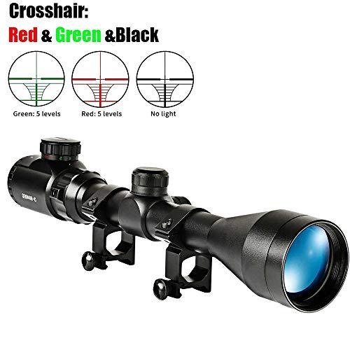 HXC Zielfernrohr 3-9x40EG Rot Und Grün Taktische Dot Optik Pistolenfernrohr Fadenkreuz mit 20 mm Halterung, Rotgrün Punktvisier für Jagd und Sport