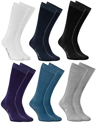 Rainbow Socks - Jungen Mädchen Baumwolle Kniestrümpfe - 6 Paar - Dunkle Farben - Größen 30-35
