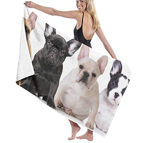 Beach Towels for Women Men French Bulldog Dog Bath Towels Quick Dry Multipurpose Travel Pool Blanket Large 31x51 Inches