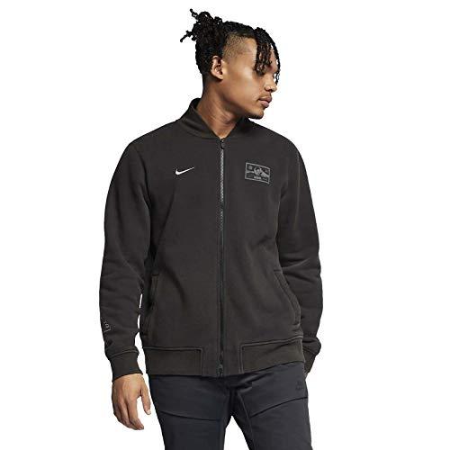 Nike Men's Sportswear Club Varsity Fleece Jacket (Small, Black/Flat Pewter)