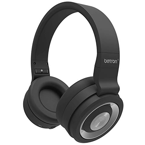 Betron BN15 Wireless Headphones, On-Ear Foldable Bluetooth Headphone Set, Comfortable Earpads, Bass Driven Sound, with Mic and On-Board Volume Control Compatible with iPhone, iPod, Samsung, Black