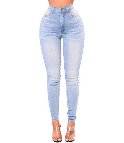 ISSHE Pantalones Vaqueros Cintura Alta Mujer Jeans Talle Alto Mujer Vaqueros Skinny Slim Pantalon Vaquero Denim Tiro Alto Mujer Jeggings Elasticos Treggings Ajustados Mode Casual Azul Claro L