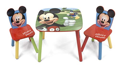 Familie24 3tlg. Holz Mickey Maus Kindersitzgruppe Tisch + 2X Stuhl Sitzgruppe Kindertisch Micky Maus Minnie Maus