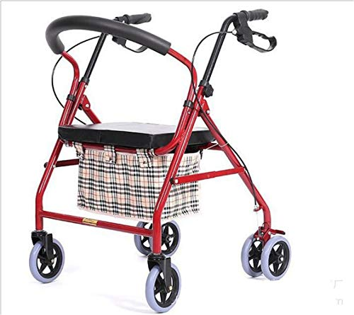 DYHQQ Einkaufswagen Tragbare Falten Ältere Einkaufswagen Trolley Outdoor Collapsible Behinderte Rollator Walker mit Rädern & Handbremse & Sitz