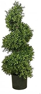 One 36 Inch Artificial Boxwood Spiral Topiary Tree Potted