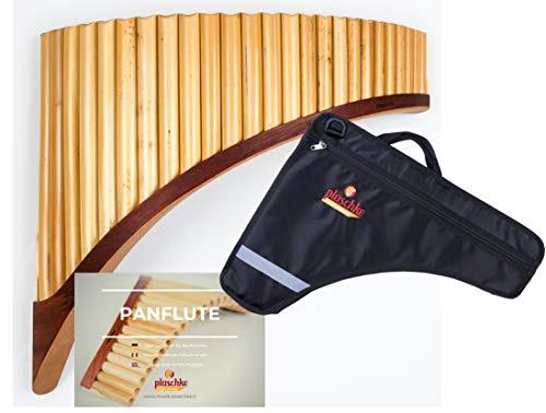 Plaschke Instruments - Flauta de pan de bambú con 25 tubos de sonido (en do mayor, incluye funda y libro de aprendizaje, hecho a mano por el Tirol del Sur e Italia)