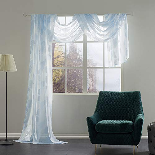 KEQIAOSUOCAI Floral Leaves Jacquard Pattern Light Blue Window Sheer Scarf Valance for Living Room Semi Sheer Voile Drapes Panel for Bedroom 1 Panel Curtain 52 by 216 inches Long