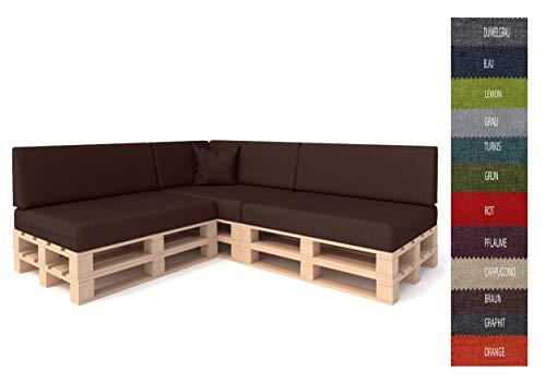 Pillows24 Palettenkissen 8-teiliges Set | Palettenauflage Polster für Europaletten | Hochwertige Palettenpolster | Palettensofa Indoor & Outdoor | Erhältlich Made in EU | Braun