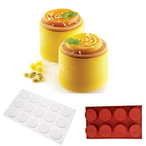 BGREN 2 pièces/Ensemble Produit mélange Tourbillon Art Silicone moules à gâteau Dessert 3D Mousse Chocolat Moule pâtisserie ustensiles de Cuisson Moule Pan-2 pièces/Ensemble
