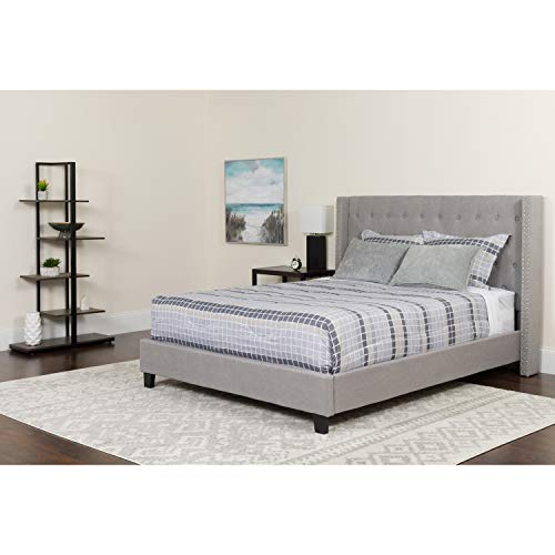 Flash Furniture Riverdale King Size Tufted Upholstered Platform Bed in Light Gray Fabric