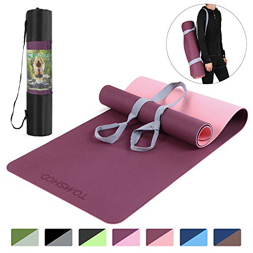 TOMSHOO Gymnastikmatte rutschfest, TPE Yogamatte Trainingsmatte, Phthalatfreie Fitnessmatte für Yoga Pilates Gymnastik & Fitness mit...
