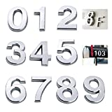 Mailbox Numbers House Numbers 0-9, 2 Inch Address Numbers Stickers Door Numbers Silver Shiny, Metal Plating Process (Silver)