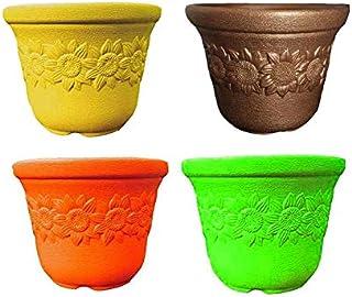 Antier Plastic Sunny Flower Pot (12-inch, Pack of 4)