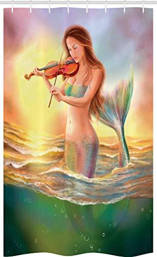 ABAKUHAUS Meermin Douchegordijn, Mermaid Spelen Viool, voor Douchecabine Stoffen Badkamer Decoratie Set met Ophangringen, 120 x 180 cm, Veelkleurig