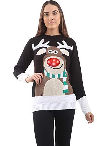 Storm Island Suéter de punto para mujer con luces LED 3D de Navidad, para lluvia, ciervo